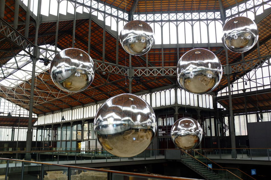 Silver balls Hanging Low Angle View Ceiling Architecture Built Structure Inflatables Steel Structure  Stairs El Born