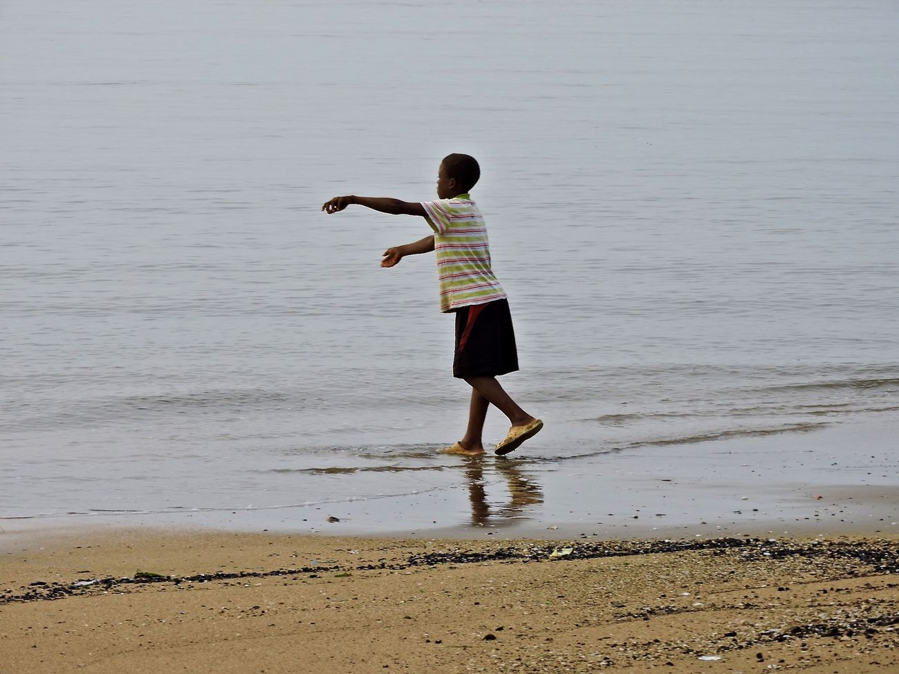 African Beauty Alone... Beach Child Children Only Life Play Simplicity Water