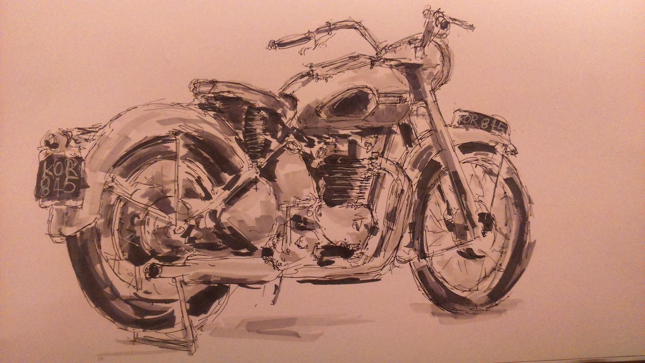 MyArt Marker Pen ArtWork Art Art, Drawing, Creativity Artistic Classic Motorbike Motorcycles Motorcycle Blackandwhite Black And White Grey Black Motorcyclepeople Biker Check This Out Hello World Relaxing Machinery Beautiful Cool Seeing The Sights
