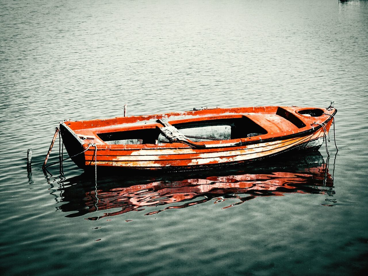 Boat Old Boat Abandoned Abandoned Boat Red Red Boat Carmine Sea Calm Sea A Moment Of Zen... Tranquility Tranquil Scene Peace And Quiet Fine Art Wallpaper Water Reflections Reflections Reflected Glory No People Shades Of Red Fine Art Photography My Boat On The River Fishing Boat Transportation