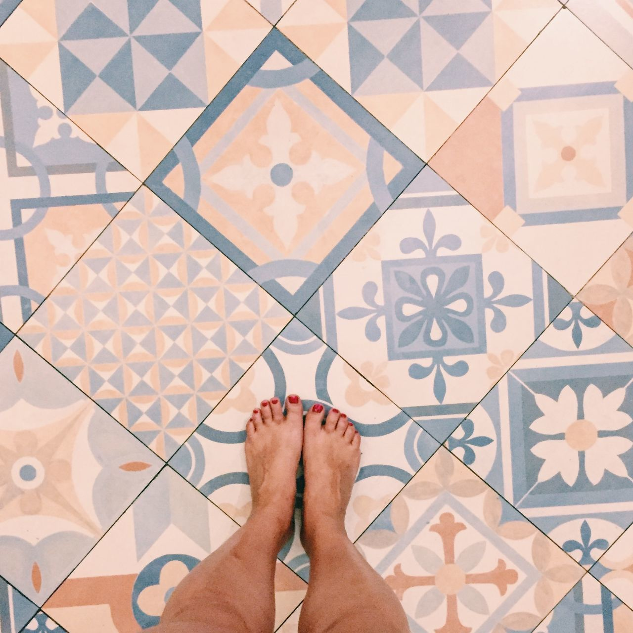 Feet standing on mosaic tiles in Seminyak, Bali, Indonesia Bali Bali, Indonesia Barefoot Close-up Day High Angle View Human Body Part Human Foot Human Leg INDONESIA Indoors  IPhone IPhoneography Lifestyles Low Section One Person Pattern People Personal Perspective Real People South East Asia Square Tile Tiled Floor Women