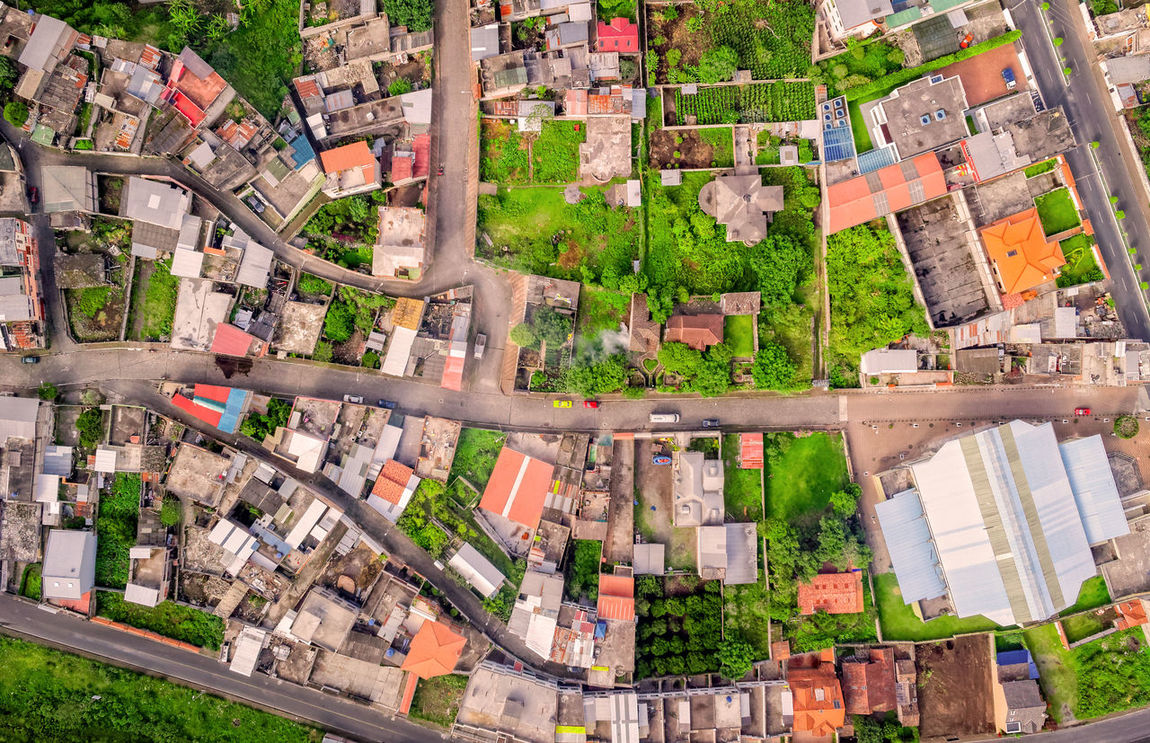 Overview Of Banos De Agua Santa, Latin American City, Tungurahua Province, South America Aerial Aerial Photography Aerial Shot Aerial View Architecture Architecture Buidings City City Life City Life Cityscape Day Daylight Downtown District Drone  Dronephotography Droneshot Exterior Fly Green High Angle View No People Outdoors Roof Travel Destinations