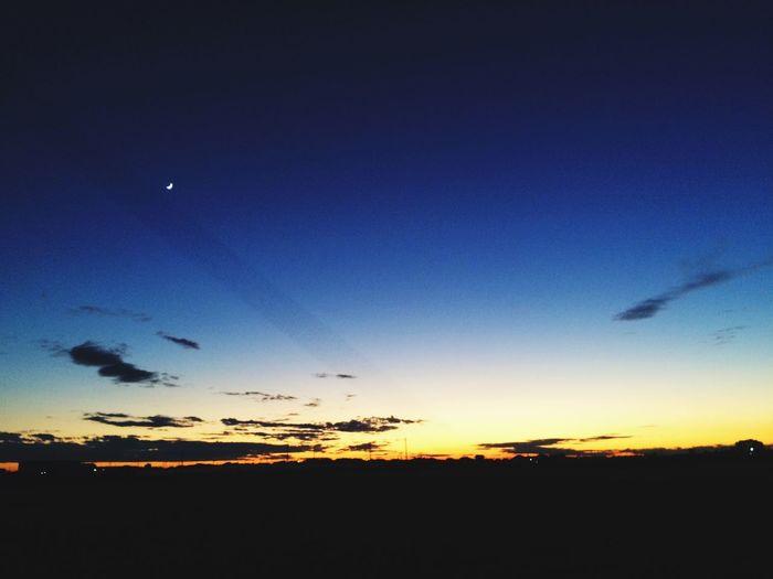 Beautiful view!!! Sky Setting Sun Moon Blue Beautiful Japan First Eyeem Photo