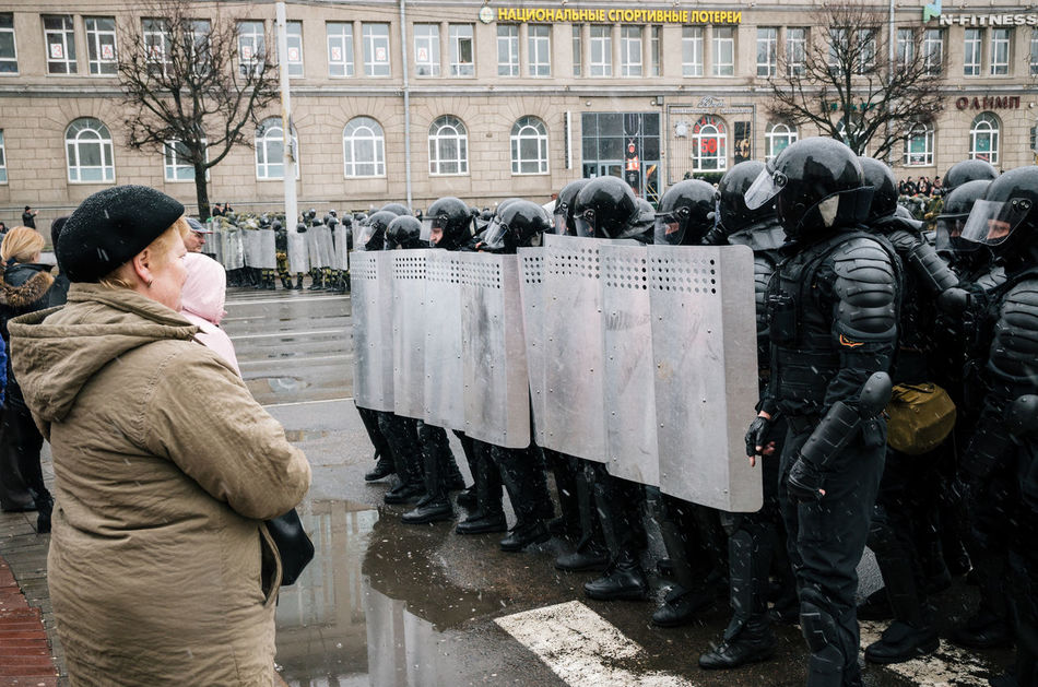 Minsk, Belarus - March 25, 2017 - Special police unit with shields against ordinary citizens and protesters. Belarusian people participate in the protest against the decree 3 Lukashenko and the current authorities. Active Activism Belarus Belarus Nature Citizen Demonstration People Police Police Force Protest Protesters Protesting Rally Reportage Riot Street Resist