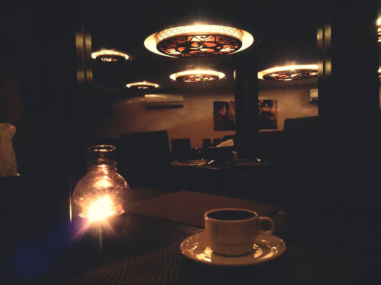 illuminated, table, refreshment, food and drink, indoors, drink, no people, plate, night, healthy eating, food, close-up, freshness