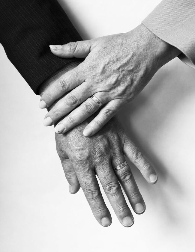 Couple Hands Wedding Bands Vows Older Couple Engagement Love Black And White Wedding Marriage  Married Married Couple Monochrome Photography