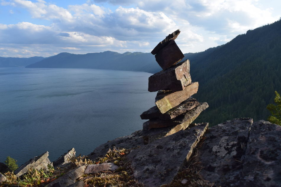Adventure Cairns Climb Hike Lake Maiden Rock Mountains Scenery Trail Marker