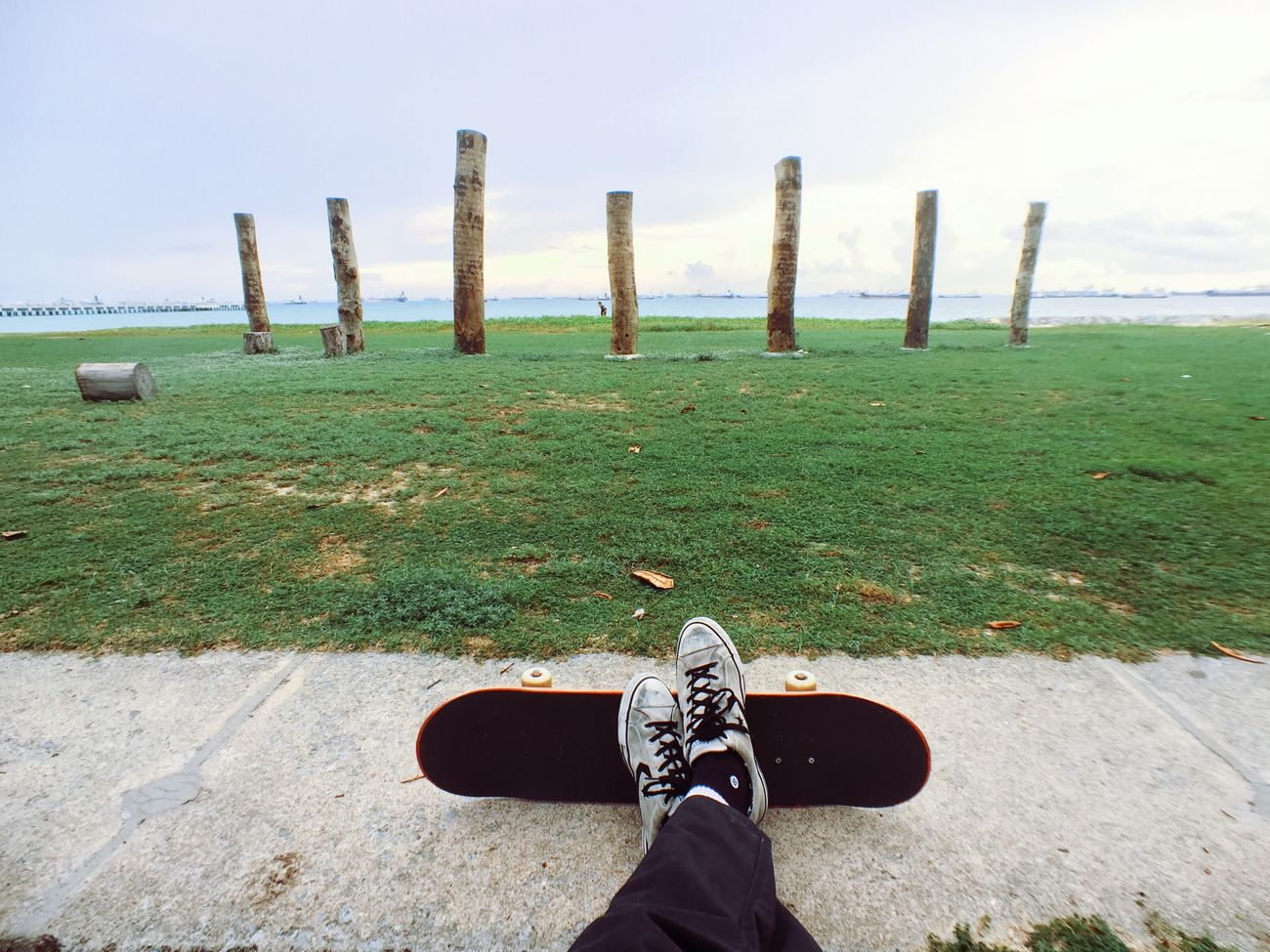 enjoying the sea breeze before shredding Skateboarding Beach Momentlens Momentwide