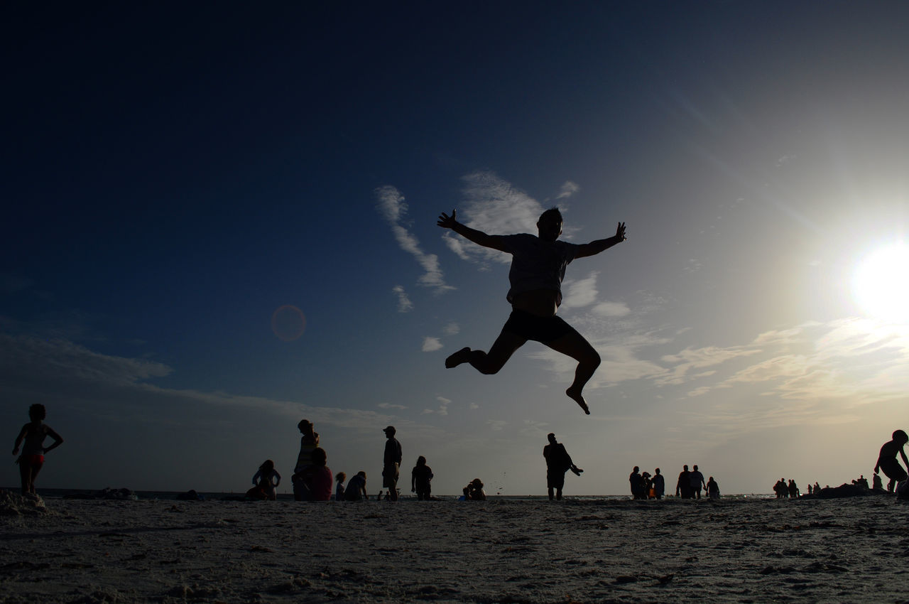 Caladesi Island State Park Enjoying Life Enjoyment Excitement Florida Fun Jump Jumping Jumping Man Jumpshot Medium Group Of People Silhouette Sun Sunset Sunset Silhouettes Sunset_collection