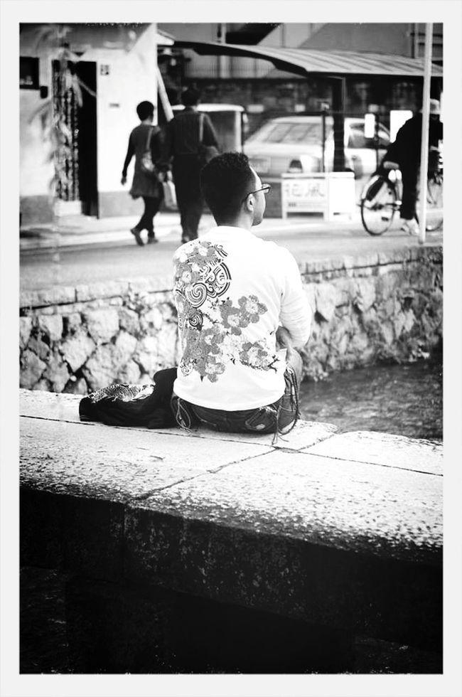 Siting,waiting,wishing  Black And White Japan