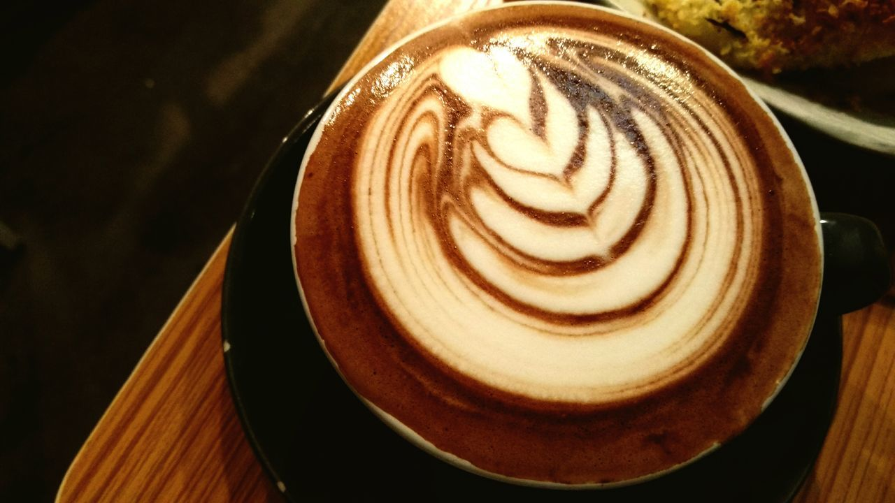 Close-Up High Angle View Of Cappuccino