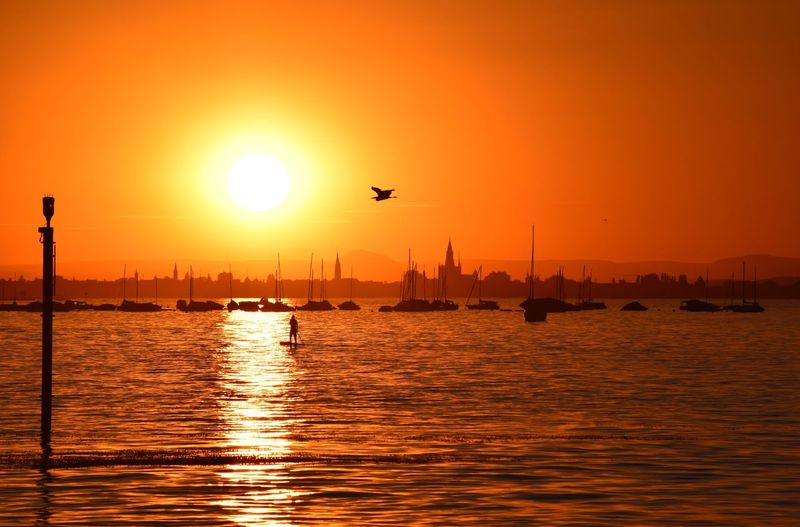 Sunset Sun Water Sea Orange Color Beauty In Nature Nature Waterfront Scenics Sunlight Outdoors No People Reflection Mode Of Transport Travel Destinations Silhouette Transportation Animal Themes Architecture Sky Bodensee Bodenseebilder Sonnenuntergang Bodensee Konstanz Bodensee Lake