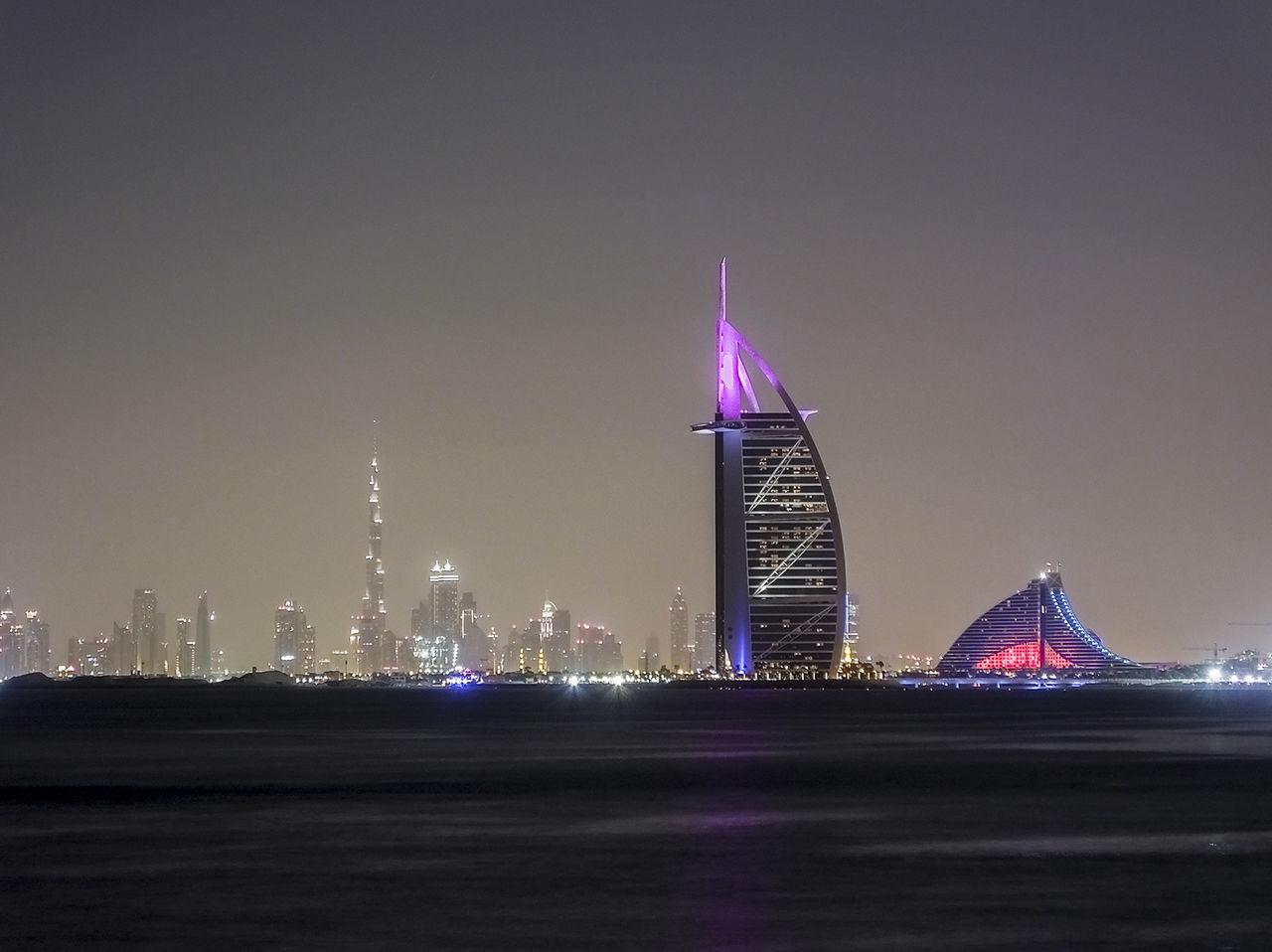 Burj Al Arab Night Lights Skyline Dubai Architecture Nightphotography The Architect - 2015 EyeEm Awards The Traveler - 2015 EyeEm Awards Seeing The Sights Cities At Night