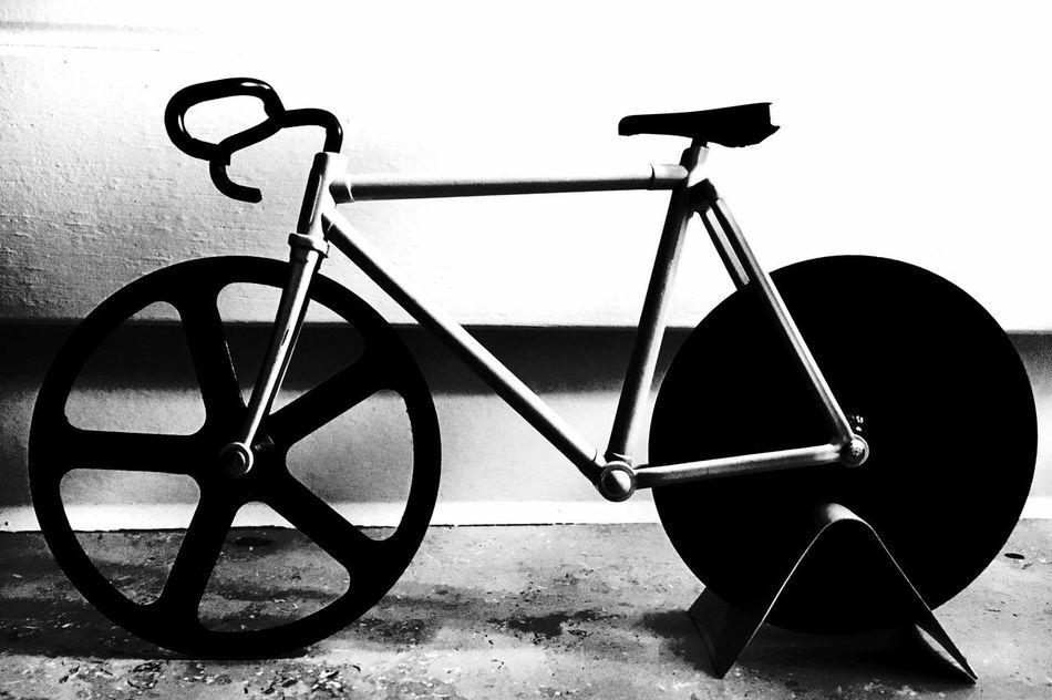 Black And White Bycicle Close-up Concrete No People Parked Parking Pizza Cutter Toy Racing Bike
