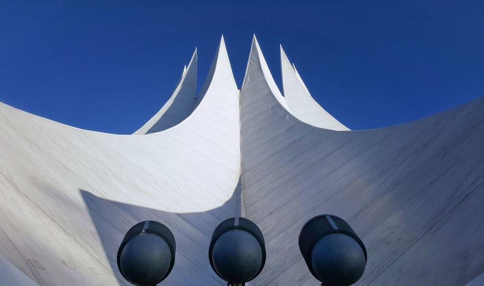 AntiM Architecture Blue Clear Sky Colours And Patterns Low Angle View Modern No People Outdoors Sky Tall - High Tempodrom Berlin White And Blue Minimalist Architecture