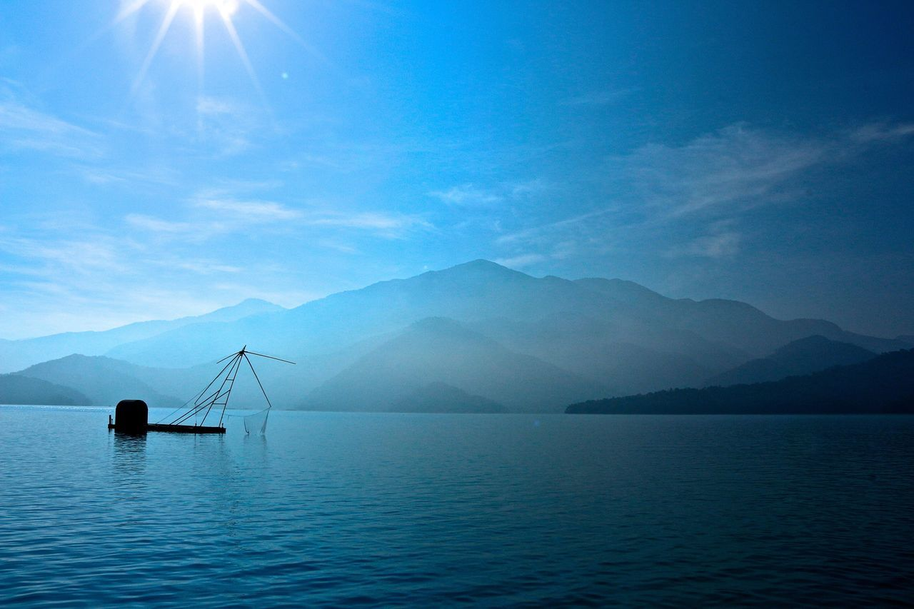 Lake View Blue Sky Blue Sky And Mountains Fishing Taiwan Sun Moon Lake Daylight