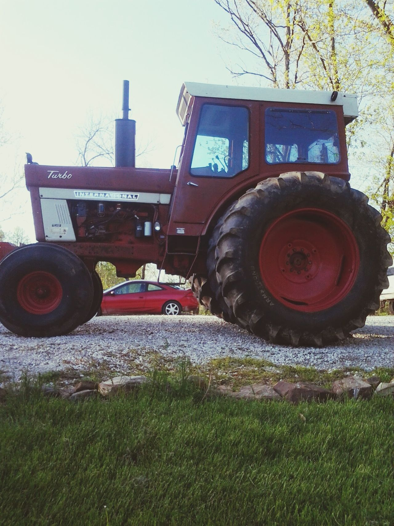If it aint Red, leave it in the shed.. Field Agriculture Rural Scene Outdoors Tractor Car