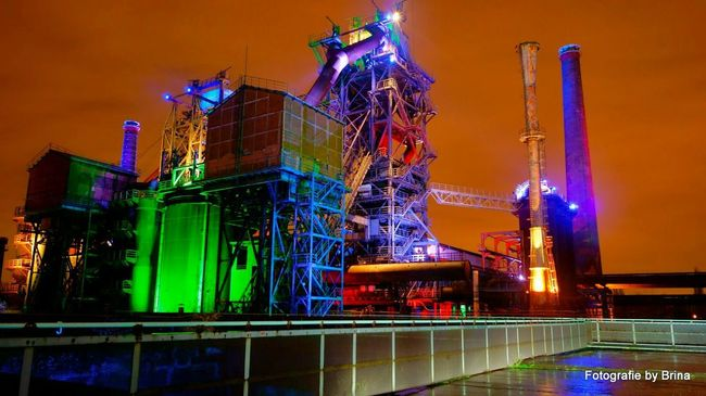 From The Rooftop Landschaftspark   Duisburg   GermanyI Industry Long Exposure Nightphotography Available Light Amazing Architecture/ for me one of the best light installation after sunset Beauty Redefined