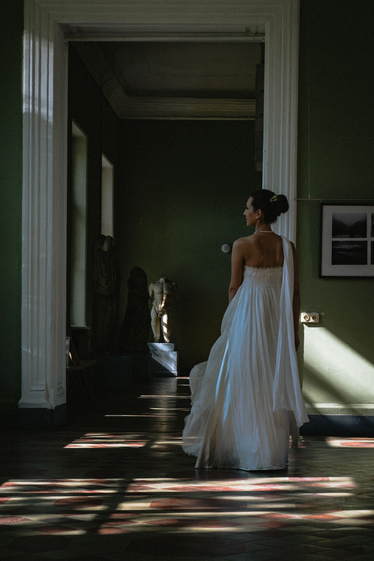 Architectural Column Bride Day Full Length Indoors  Life Events One Person People Real People Standing Wedding Wedding Dress Women Young Adult Young Women