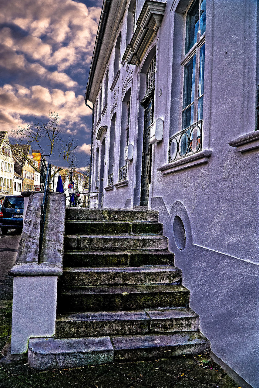 architecture, building exterior, steps, built structure, staircase, steps and staircases, outdoors, stairs, day, no people, sky