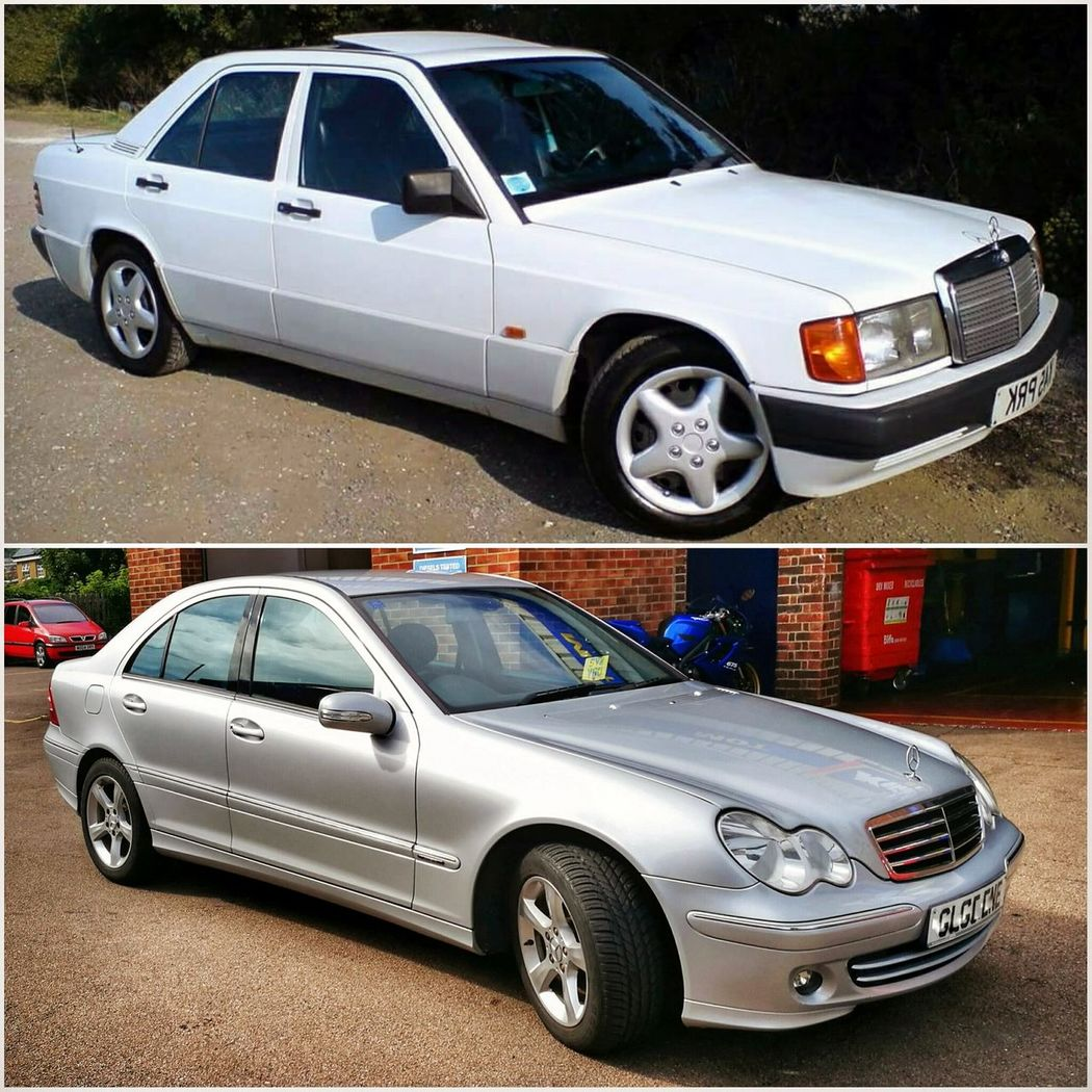 Old vs new Car Transportation Mercedes-Benz Mercedes 190d Mercedes C220 W201 W203 Oldvsnew Classic Classic Car Mode Of Transport Land Vehicle Day No People Police Car Outdoors
