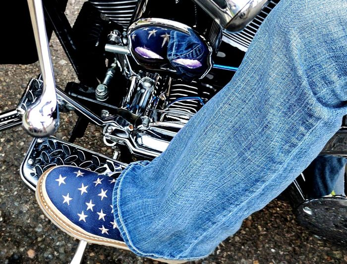 Reflection Chrome Skull Eyes Light Up Georgia Romeos Stars Blue Jeans Harley Davidson Roadking One Woman Only Jeans Low Section One Person High Angle View Human Body Part Casual Clothing Lifestyles Human Leg Blue Boots
