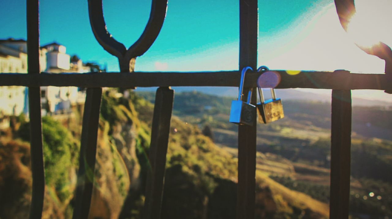 Focus On Foreground Metal Close-up Outdoors Sky No People Day Reja Candado Candados De Amor Sun Beam Houses Ronda Ronda, Malaga Ronda Spain New Bridge Puente Nuevo De Ronda Travel High Light EyeEm Gallery Check This Out