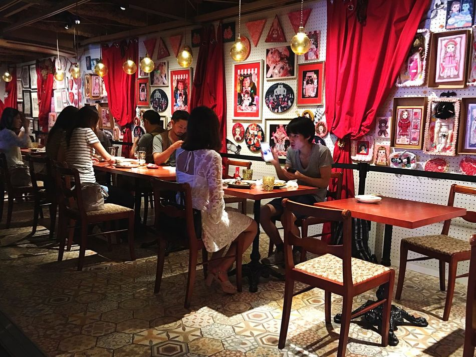 Food Food And Drink Restaurant Customer  Cafe Eating Lifestyles Drink People Indoors  Men Women Freshness Dinner Japan Photography Tokyo Colorful Decoration Talking People Interacting