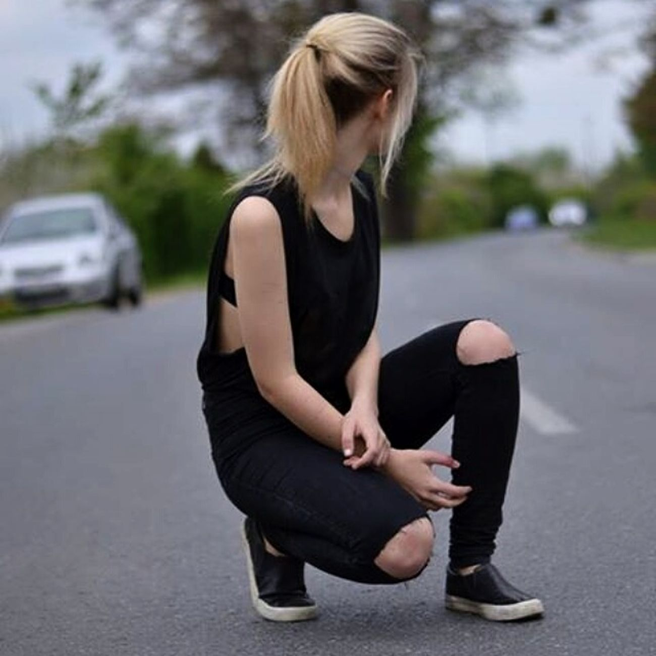 Polishgirl Black Blackfashion Slipon Blonde Girl Blonde