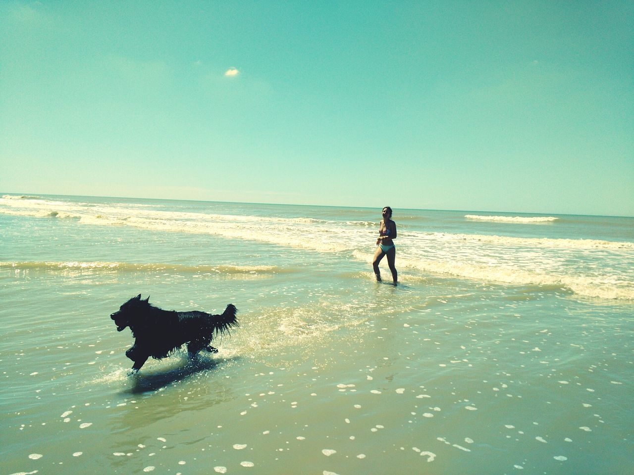 Daughter & dog. Sea Dog Beach Domestic Animals Pets Mammal Sky Running Horizon Over Water Water NatureNature_collection Shore Motion One Animal Two People Beauty In Nature Full Length Seascape Sea_collection Having A Good Time Ball Buenos Aires, Argentina  Sky_collection