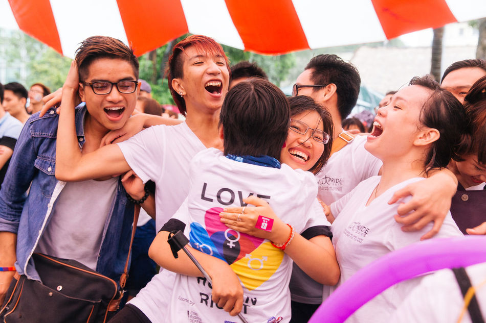 A group of VietPride volunteer, young LGBTIQ Vietnamese cheered with joy after the success of event, despite the rain in Hanoi. Gay Pride Gaypride Lgbt Lgbt Pride Lgbtiq Lgbtq Photojournalism Pride Prideparade Queer Teamwork Togetherness Viet Pride Vietnam Vietnamese VietPride Volunteer Youth Youth Of Today EyeEm Diversity Resist