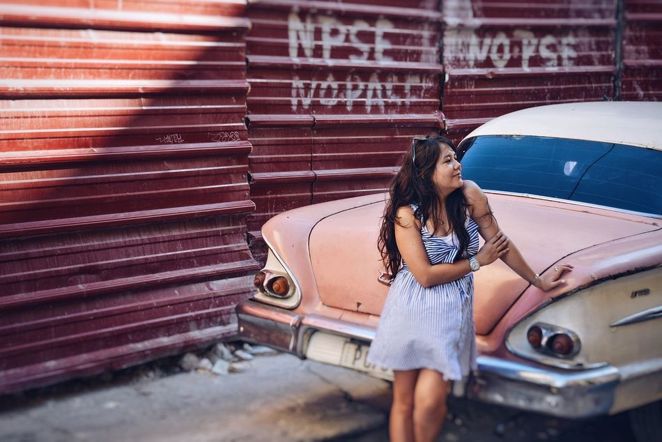 Back in the past, back to the 50's. Car Old-fashioned Women Transportation Only Women Young Women Beautiful People People Pink Color Chevrolet 1950's Girls And Cars Lifestyle Cuba La Habana Style Fashion