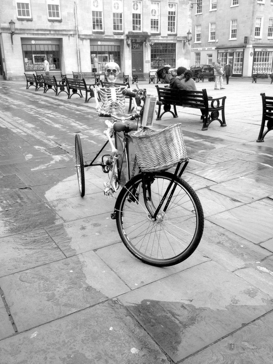 Skeleton Cyclist! Funny Skeleton Art Skeleton Bicycle Parking Bicycle