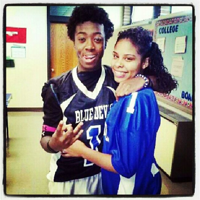 #throwback peprally/homecoming game my homegirl /fan wearing my jersey.. love her