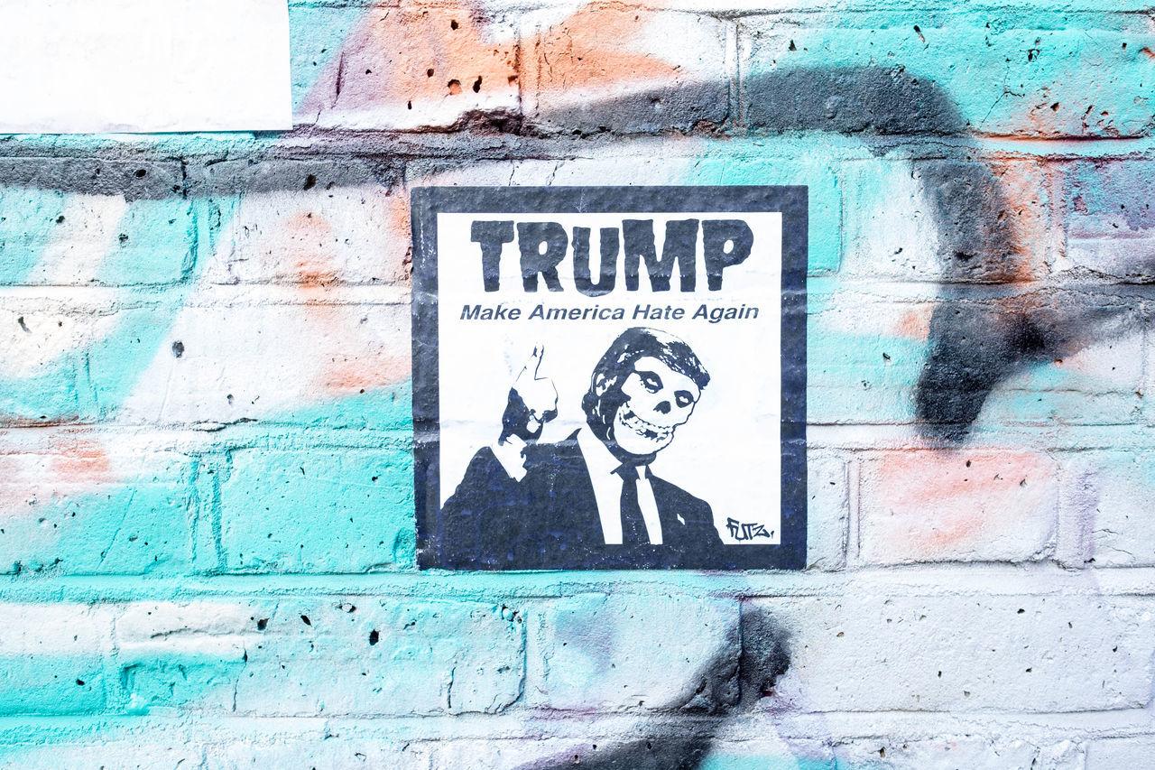 Brick Lane, East London Communication No People Outdoors Political Political Street Art Spray Paint Text Trump Us Election USA USA Politics
