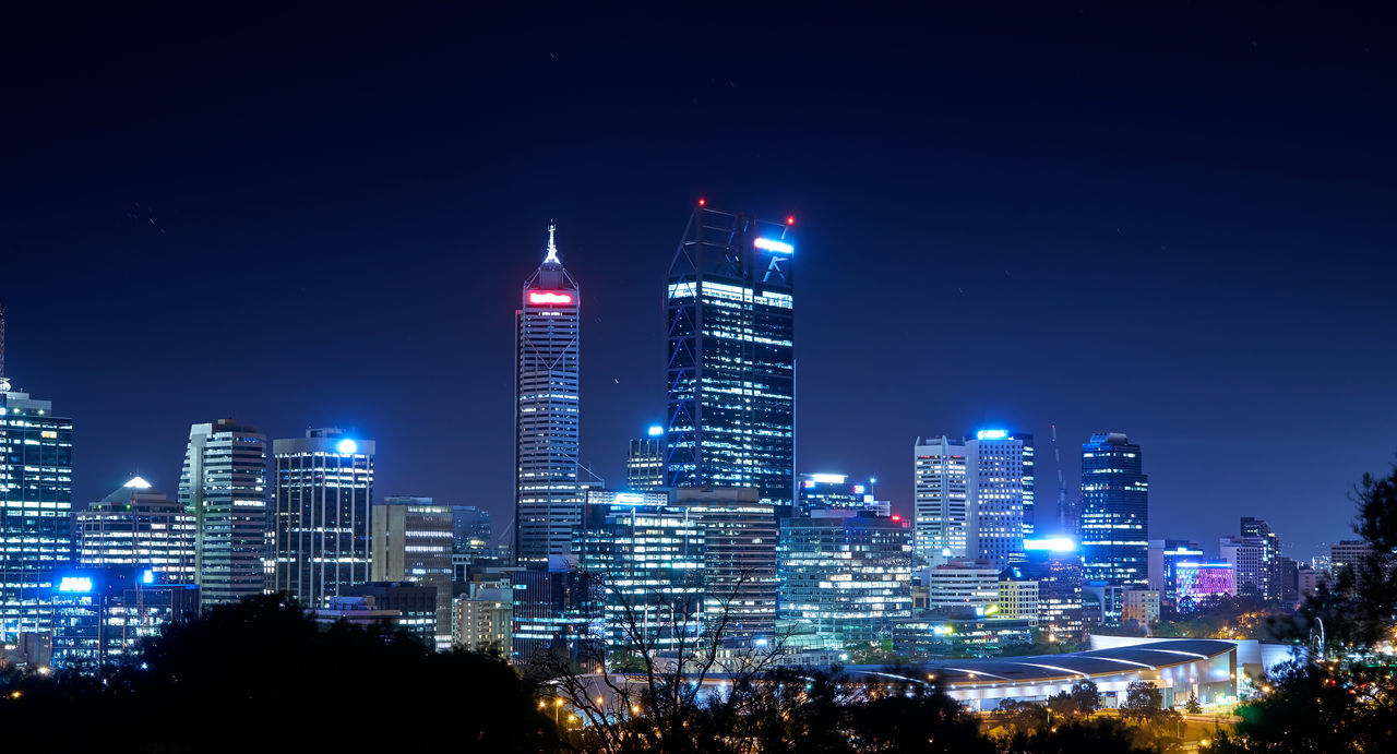 Skyline of Perth from Kings Park with a view of John Oldany Park at night. Architecture Building Exterior Business Business Finance And Industry City City Life Cityscape Downtown District Futuristic Illuminated Long Exposure Modern Night No People Office Building Exterior Outdoors Sky Skyscraper Travel Destinations Urban Skyline Fresh On Market 2017