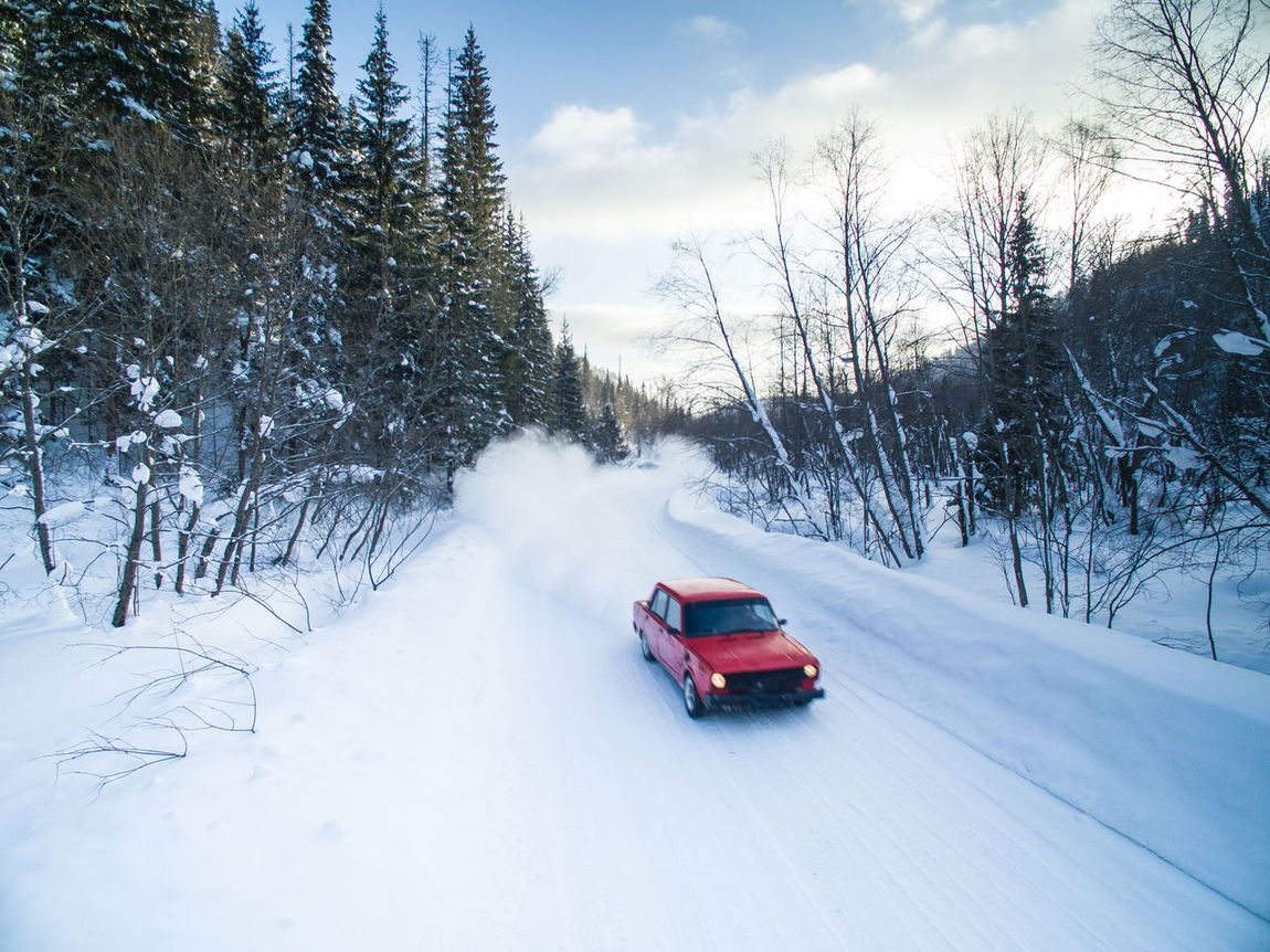 Aerial Auto Car Day Dji Drift Drone  Forest Nature Outdoors Race Road Russia Snow Sport Winter
