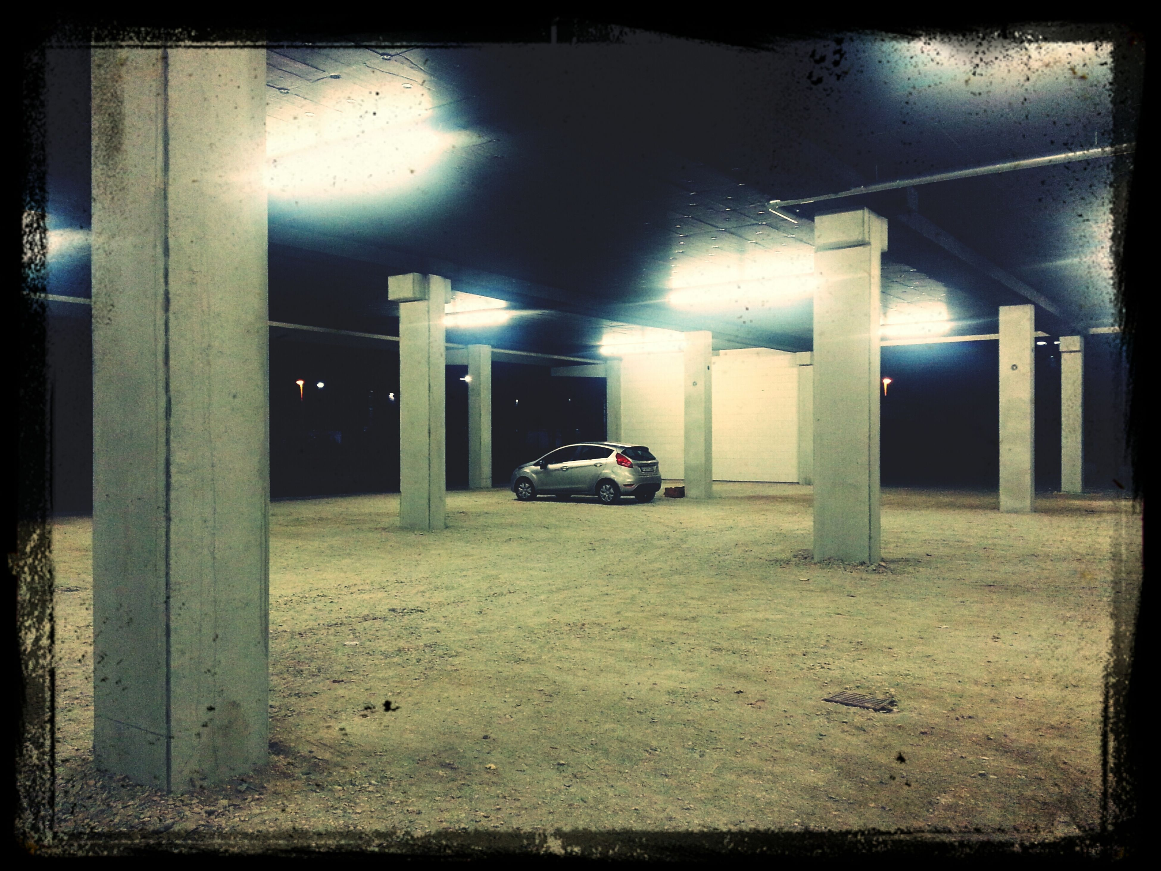 My lonely car. Parking Lot Spooky Atmosphere After Dark Crime Scene