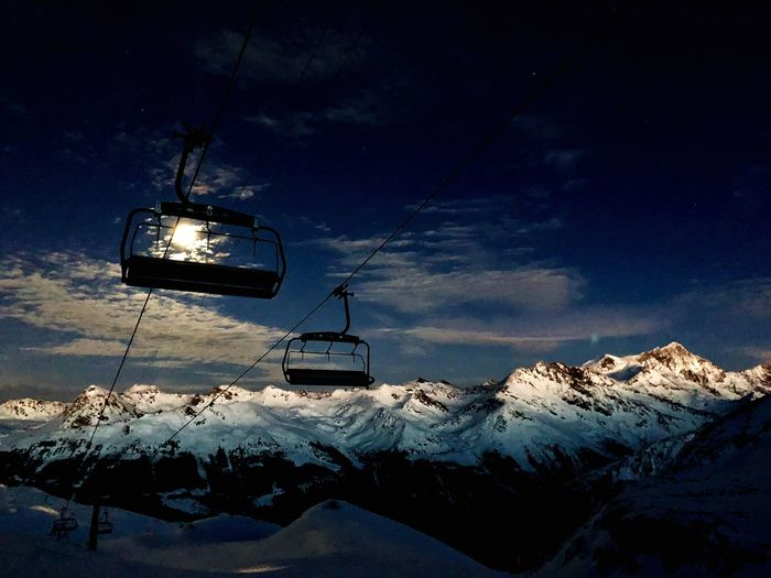 Full Moon Swiss Alps Valais Valdanniviers Grimentz Zinal Winter Snow Ski Lift