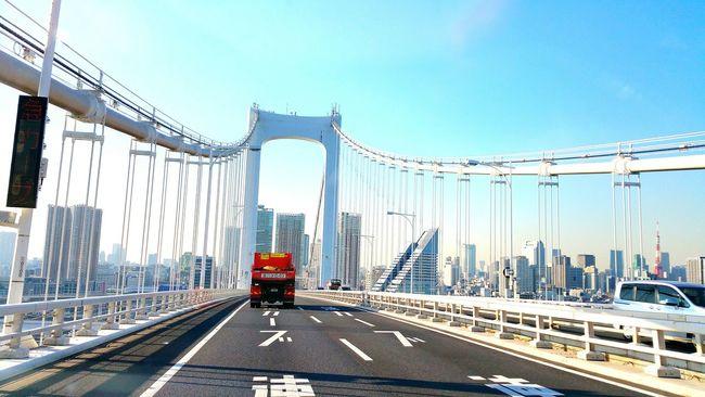 千葉県東金での仕事を終え、帰ります。レインボーブリッジです。 Hello World レインボーブリッジ またね