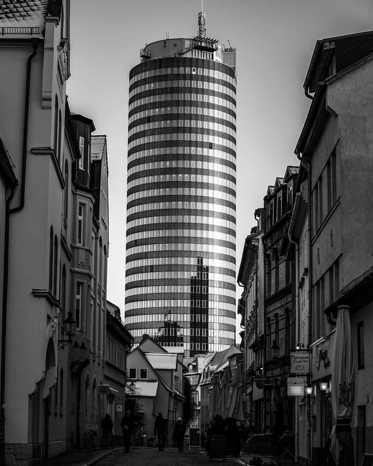 Architecture Building Exterior Built Structure City Low Angle View Sky Outdoors Real People Day Jena Blackandwhite Black And White Bnw Bw
