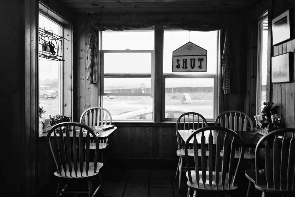 Chair Table Window Indoors  No People Day Architecture Sky Black & White Black And White Diner