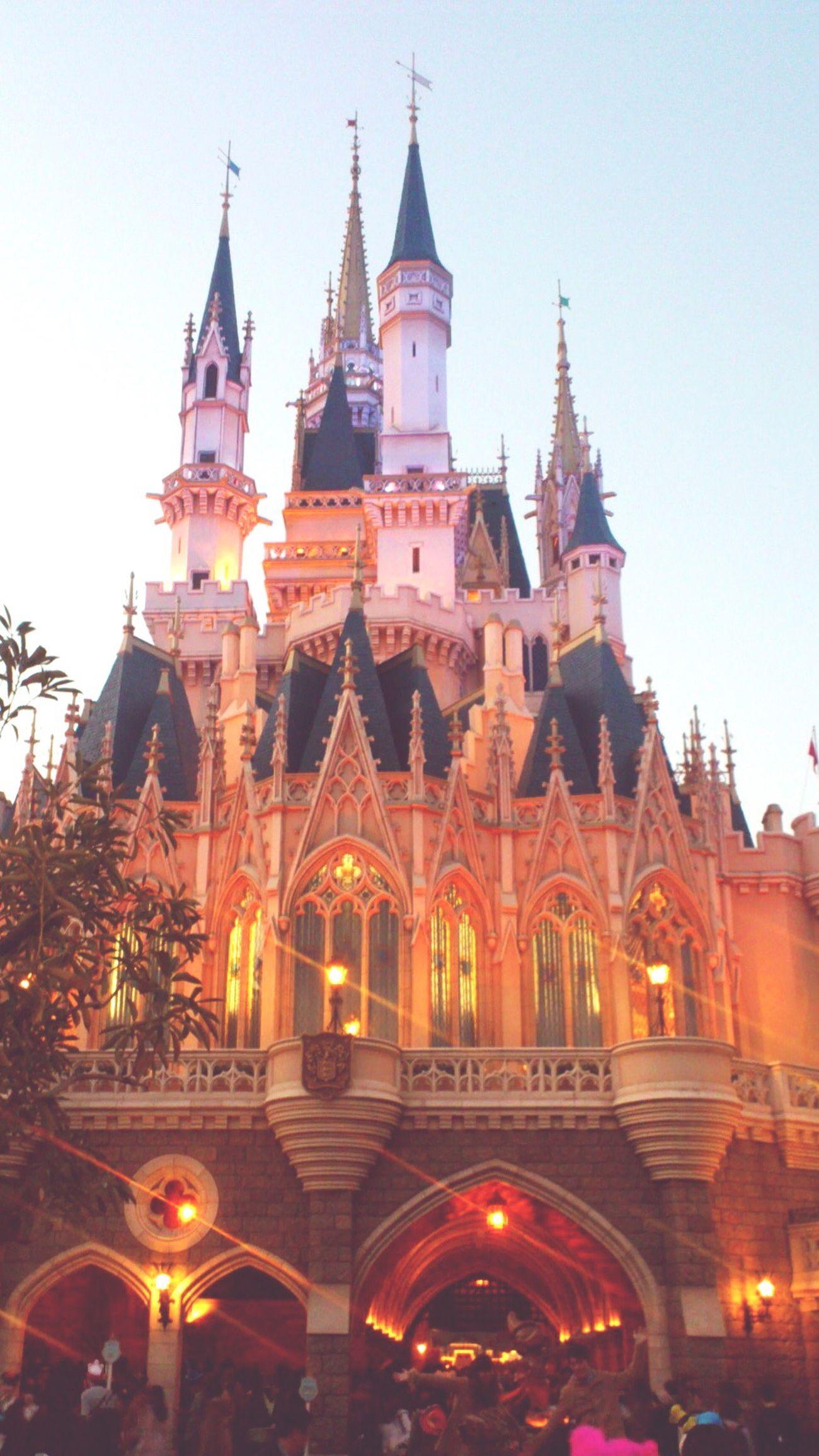 Cinderella Castle Evening in Tokyo Disney Land , Japan
