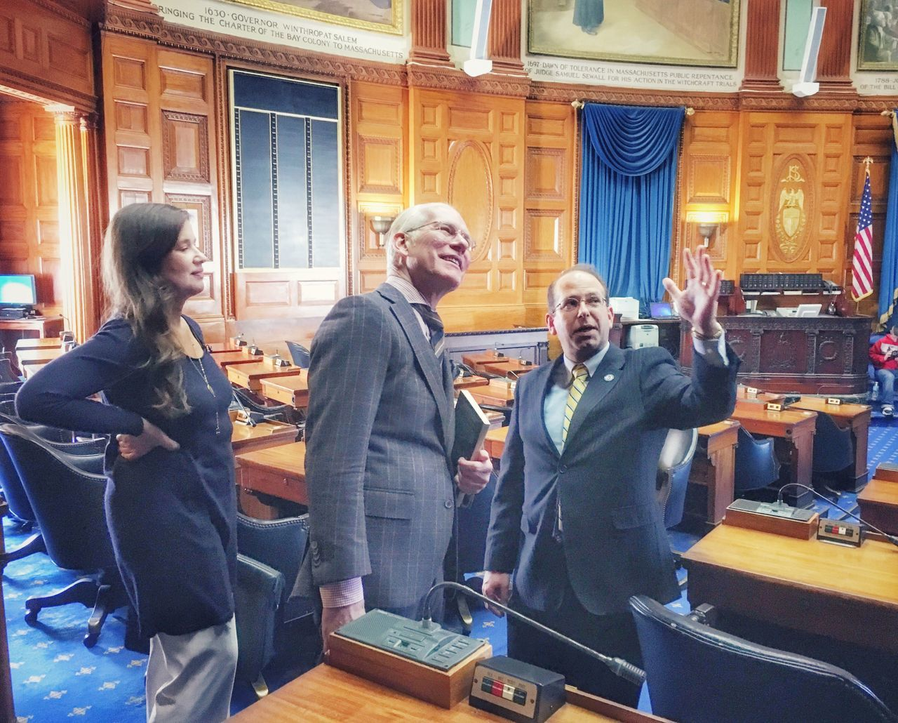Tim Gunn & Kathryn Hilderbrand touring the Boston State House with Rep. David T. Vieira after the forum on the bill to legalize industrial hemp growing and manufacturing in Massachusetts Hempinmassachusetts Hemp Legislation Massachusetts ShotoniPhone6s Boston Tim Gunn Making History