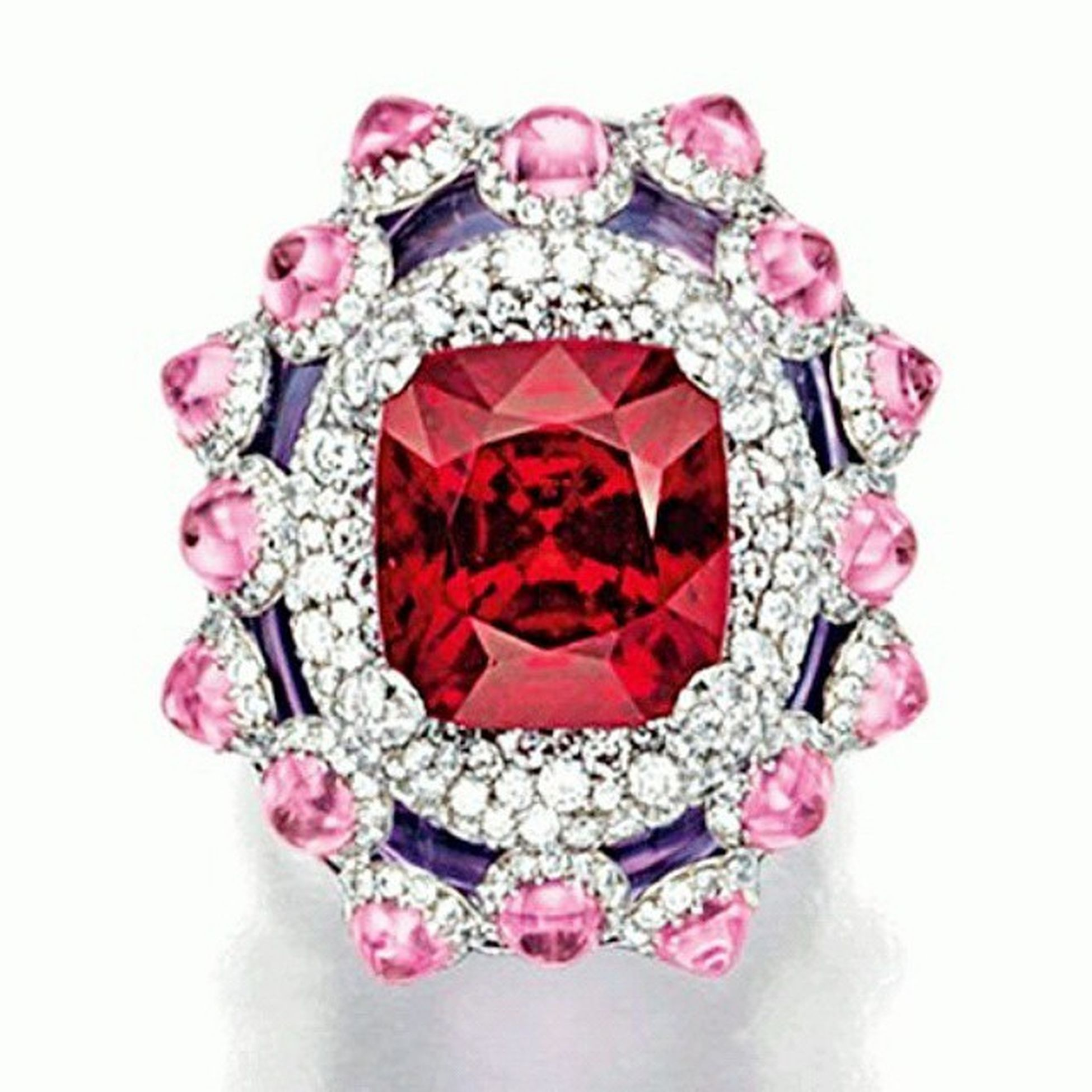 Renkli ruyalar!RED Spinel , Pink Sapphire , Amethyst AND Diamond Ring by WALLACE CHAN Loveit Jewelry Jewelleryblogger Jewellery Jewelrylover Jewelrydesign Joyas Fashion Instajewelry Blog Fashionista