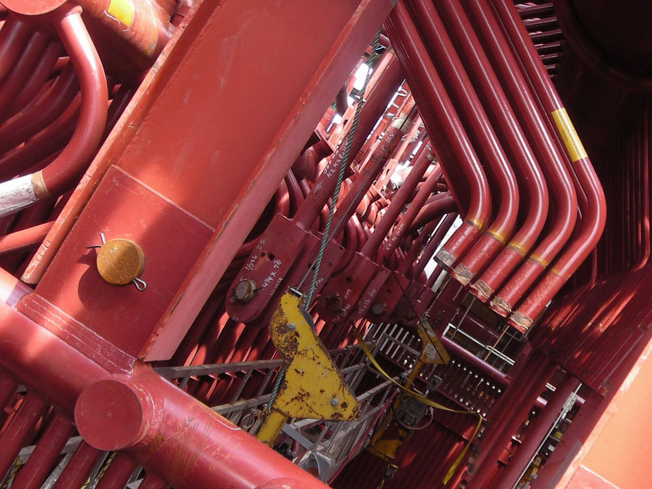 Construction Energy Plant High Angle View Indoors  Pipes Red