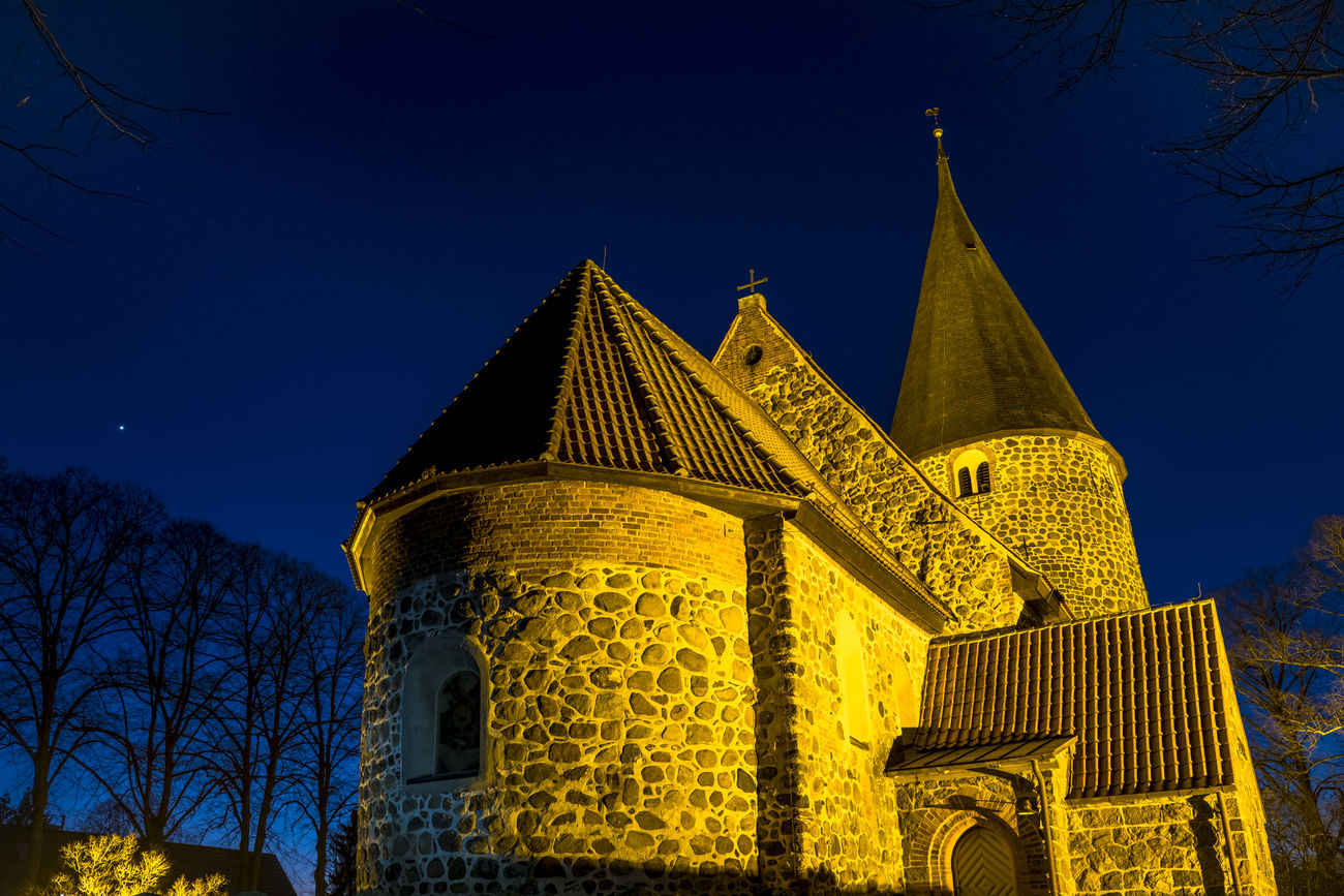 Historical stonechurch near Lübeck Architecture Building Exterior Built Structure Church Cross Evening Sky Faith Fresh On Eyeem  FUJIFILM X-T2 Germany High Resolution Historical Building Illuminated Manual Focus Manual Mode Photography Outdoors Roof Schleswig Holstein Sky Stars Stones Tower Tree Trees Adapted To The City