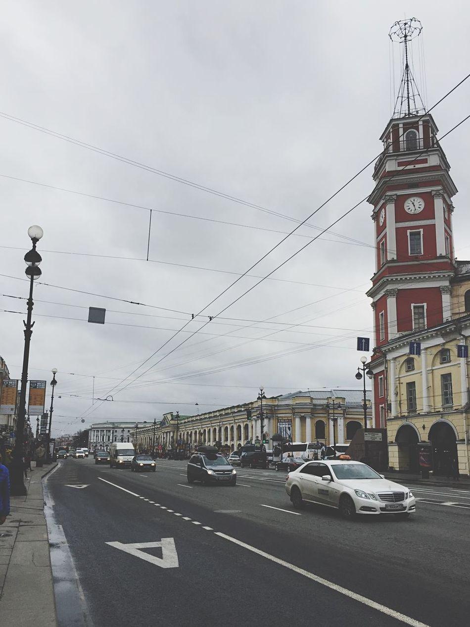 Думская башня Stairs Tower Nevsky Prospect Saint-Petersburg Saintpetersburg Rainy Morning Rainy Day Rainy Sity Sity Public Transportation Car Street Streetphotography