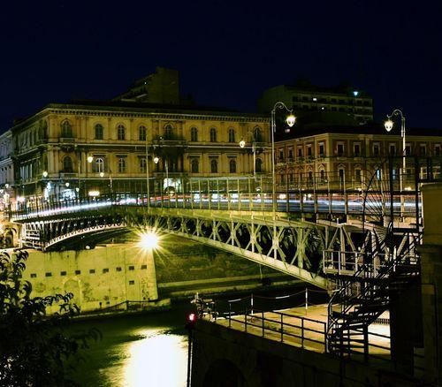 Night Illuminated Architecture City Traffic Long Exposure City Life History Bridge Taranto Pontegirevole