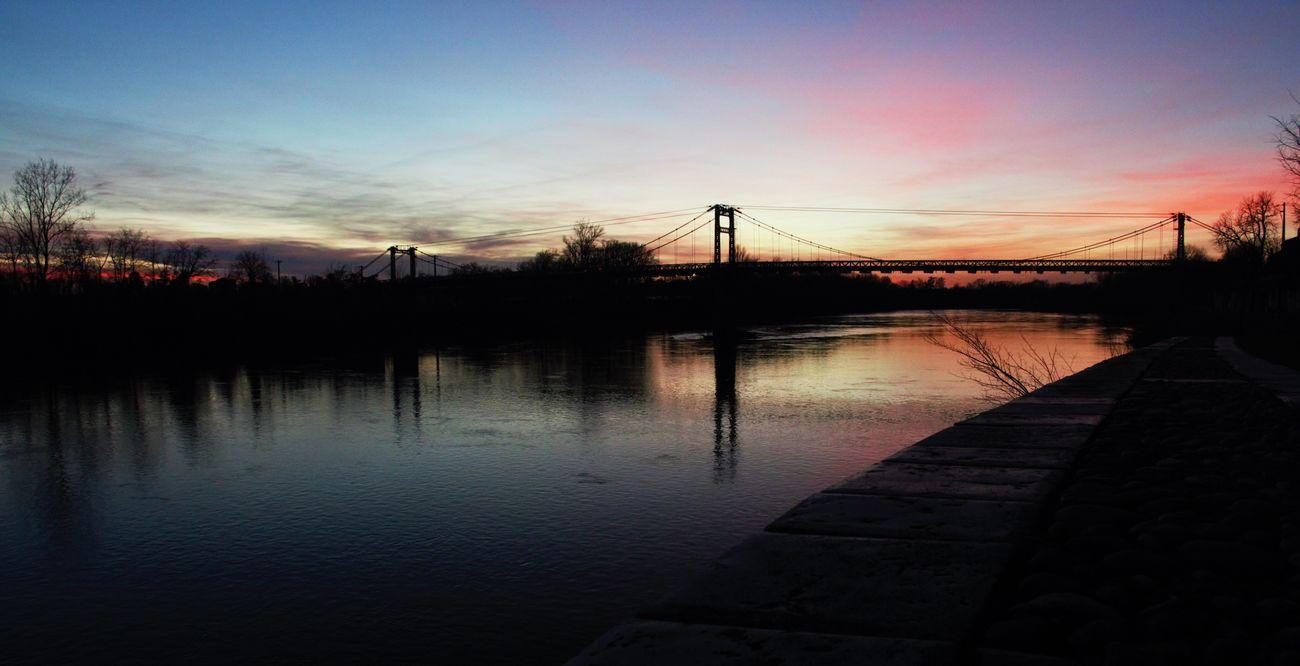 Bridge Sunset Pont Coucher De Soleil Couleurs Colors Garonne Tarn Et Garonne Midi-Pyrenees Lamagistère